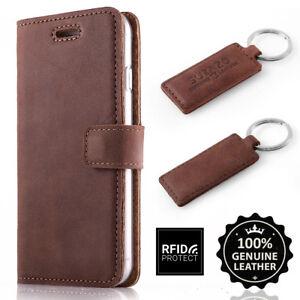 SURAZO-Echtes-Leder-Handy-RFID-Blocking-Wallet-Case-Etui-Schutzhulle-Nussbraun