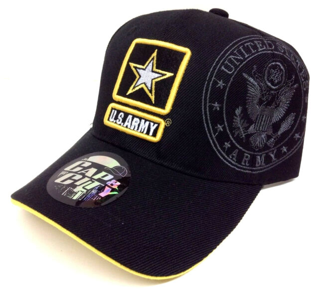 531f2ced0f1 BLACK YELLOW ARMY STAR LOGO HAT CAP US STRONG LICENSED MILITARY CAMO  ADJUSTABLE