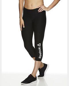 60-New-Reebok-Women-039-s-Capri-Leggings-Black-XL-Workout-Gym-Crossfit-Polyester-CC