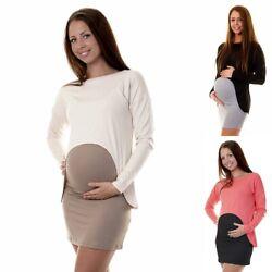 Umstandsmode Umstands Tunika Bluse Long Shirt Umstandsbluse 36 38 40 42 S M L XL