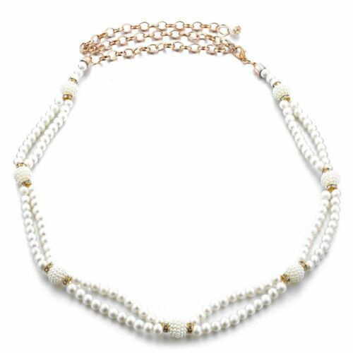 Women Ladies White Pearl Beaded Waist Belt Chain for Bridal Wedding Events 703