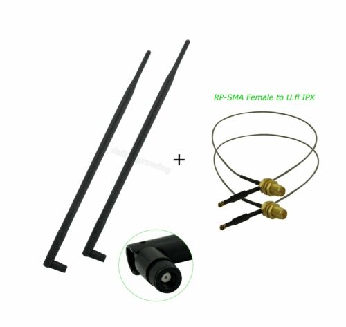 2 9dBi RP-SMA Dual Band WiFi Antenna + U.fl Mod Kit for Netgear DGND3700 v.1 v.2