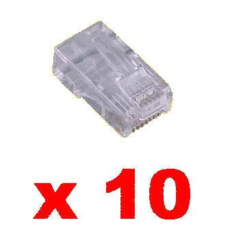 10 Fiches Rj45 à Sertir Pour Câble Réseau