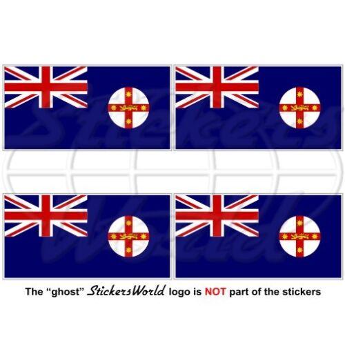 "2/"" Decals x4 Vinyl Stickers NEW SOUTH WALES Flag Australia NSW Australian 50mm"