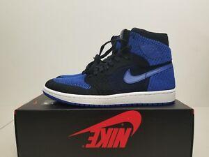 76ffce17fda Nike Air Jordan 1 Retro HI Flyknit Black Game Royal 919704-006 Size ...
