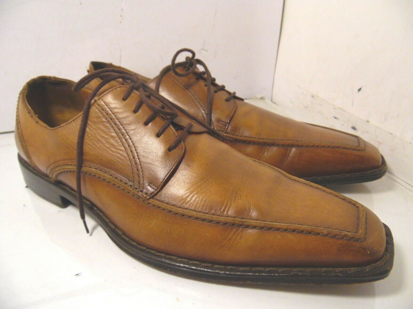 CALROLERIA GOSEANA LAVORATE A MANO Brown Leather Oxfords shoes Mens SZ 12