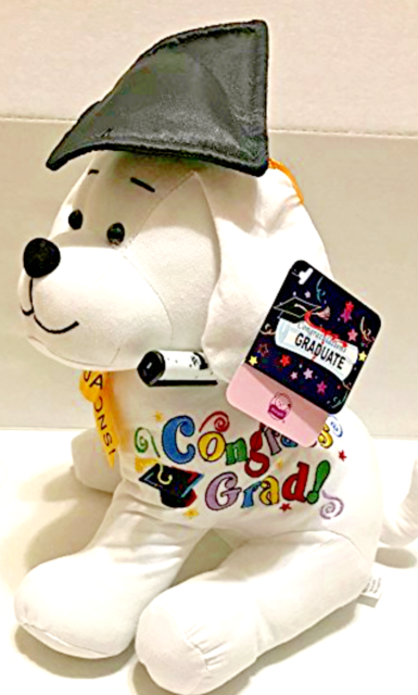 Congrats Grad 10.5/'/' Plush Teddy PINK Graduation Autograph Stuffed Dog