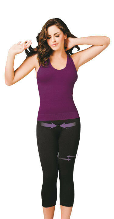 2 Leggings SMALL Capri Seamless Wear Woman Pants Sport Bio-Crystals Slimming