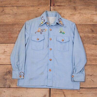 """Da Uomo Vintage 1970s Blu Ricamato Cowboy Western Camicia Di Grandi Dimensioni 42"""" Xr 9123-mostra Il Titolo Originale Forte Resistenza Al Calore E All'Usura Dura"""