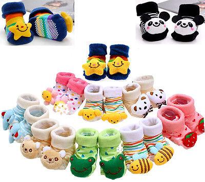 Newborn Baby Girl Boy Lovely Anti-slip Socks Shoes Slippers Animal Boots 0-6M