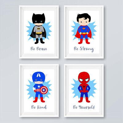 """Batman Superhero Size 5x7/"""" /& A4 Set of 3 Nursery Baby Prints"""