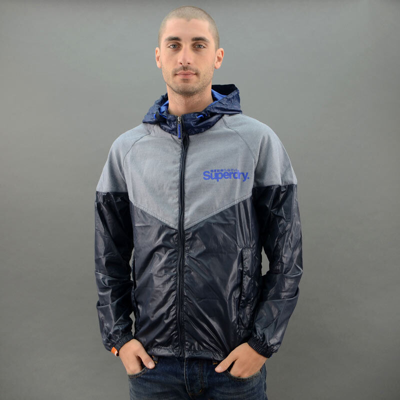 SuperDry GIUBBETTO CHAMBRARY STORMBREAKER grey blue mod. MS5IL070