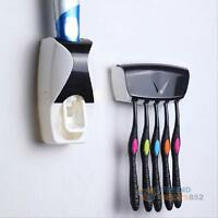Home 5 Toothbrush Holder Wall Mount + Automatic Lazy Toothpaste Dispenser Set