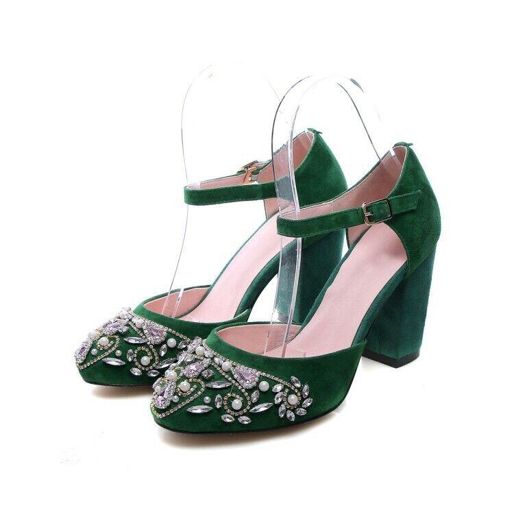 80% di sconto donna Retro Real Suede Block High Heel Rhinestones Court Court Court Pumps Ankle Strap scarpe  clienti prima reputazione prima