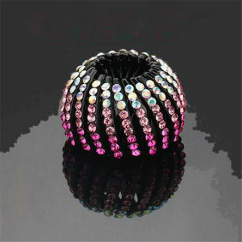 Girl Hair Clips Plastic Crystal for Hair Ponytail Ring Hair Holder Hairpin 8C