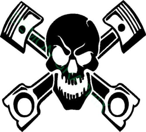 Skull with Pistons vinyl decal//sticker window laptop truck motorcycle garage