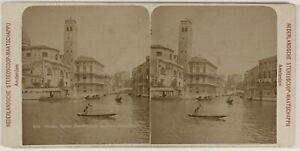 Venezia Italia Foto Stereo PL53L2n55 Vintage Albumina c1890