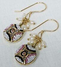 Italian Micro mosaic Earrings, 14K Gold Fill and Fresh Water Pearls, Grand Tour