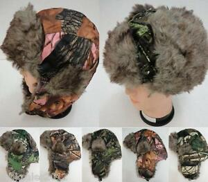 903ab27df Details about 12pc Assorted Camo Camouflage Trapper Aviator Hunting Hunter  Hat Flaps Fuax Fur