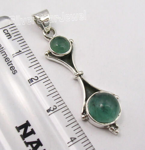 """925 Sterling Silver Classic GREEN APATITE 2 GEMSTONE CHARMING Pendant 1.7/"""" NEW"""