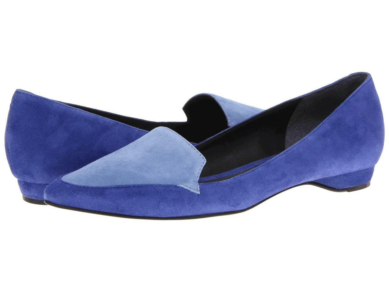 Pour La Victoire Astrid Navy dusty bleu kid suede flat leather slip-on pointed