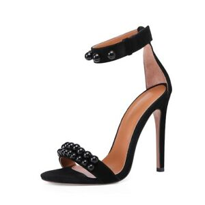 0039d0a4f906 Onlymaker Womens Ankle Strap Studded Open Toe Strappy Stiletto High ...