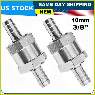 2 Packs 3//8 Inch 10mm Non-Return One Way Aluminium Alloy Silver Fuel Line Check Valve Air Oil Petrol Diesel Water for Snowmobile Motorcycle Automotive Car Truck Tractor 10mm
