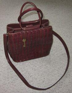 Vintage brown leather basket weave purse
