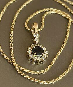 """18ct Diamante Oro Amarillo Zafiro Colgante 19"""" Cadena collar redonda HALO 0.50ct"""