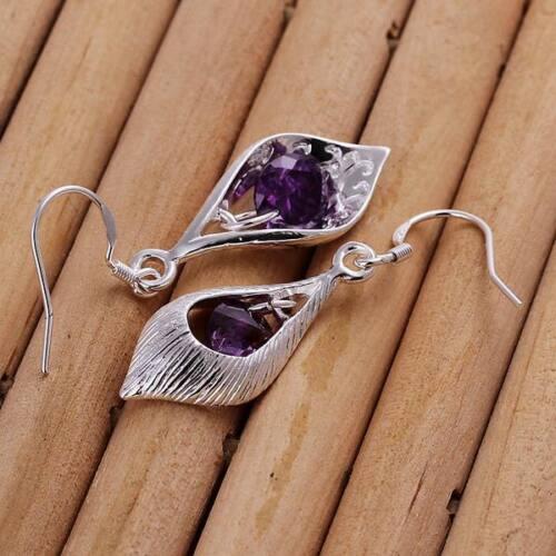 beautiful Fashion 925 Silver Cute Amethyst crystal Earring jewelry women charms