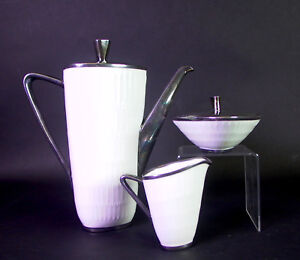 Hutschenreuther-Apart-edles-1950ies-Kaffeeservice-Feinsilberauflage