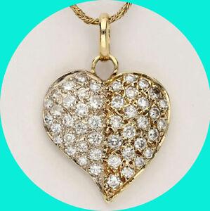 "1.24CT Diamond heart pendant necklace 14K tt/gold round brilliant 1/4"" 16"" chain"