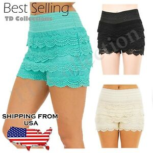 HOT-Fashion-Sexy-Mini-Lace-Tiered-Short-Skirt-Under-Safety-Pants-Shorts-Pants-N