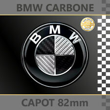 BMW LOGO CARBONE NOIR/BLANC INSIGNE EMBLEME 82mm CAPOT - NEUF