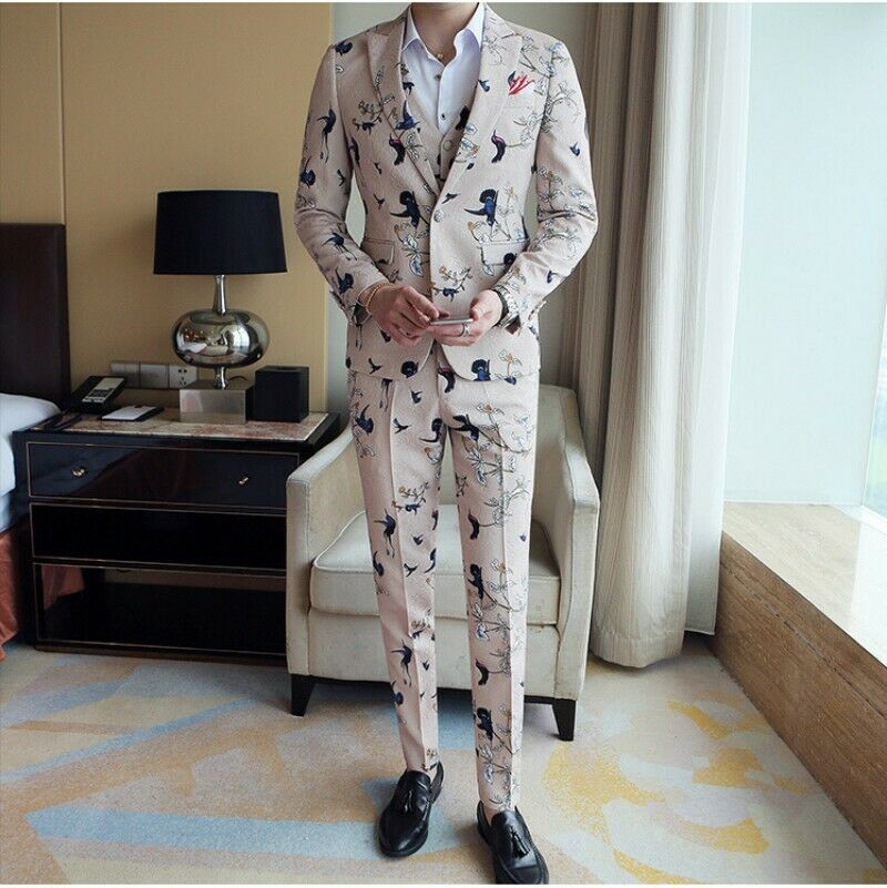 Korean Slim Fit 3pcs Coat Vest Pants Wedding Party Dresses Mens Suits Fashion YH
