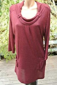 CROSSROADS-Rust-Red-Long-TUNIC-Top-w-Pockets-Size-18-XL-NEW-w-Tags-3-4-Sleeve