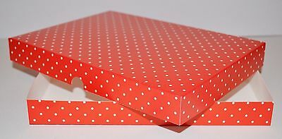 Red White Dots Greeting Card Gift Boxes Wedding Favours A5 x 5