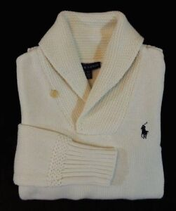 Women-Ralph-Lauren-Blue-Label-Pony-Long-Sleeves-Shawl-Collar-Ski-Shirt-Sweater-S