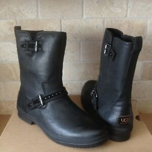 2554f10d545 Details about UGG JENISE BLACK WATERPROOF LEATHER ZIP / BUCKLE SHORT BOOTS  SIZE US 8 WOMENS