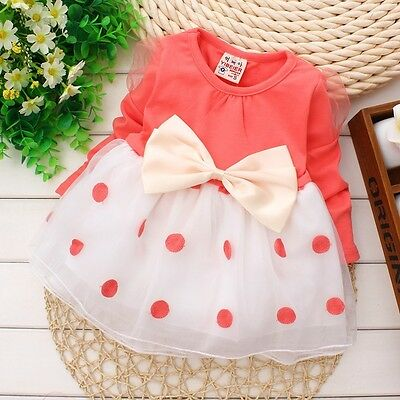 New baby Girls party dress  Baby Pretty Bowknot Top Polka Dot Dress Tutu