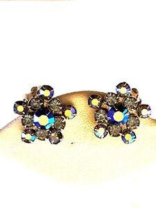 Weiss-Blue-Aurora-Borealis-Vintage-Earrings