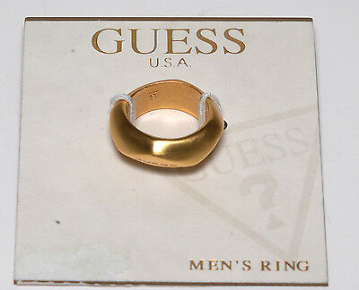 GUESS SIGNED GOLD TONE UNISEX  BAND RING JEWELRY NWT Sz 6 ON CARD #3717-0294/30