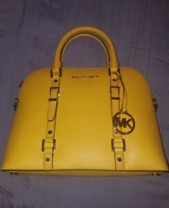 Michael-Kors-Bedford-Legacy-Sunflower-Medium-Dome-Pebbled-Leather-Satchel-NWT