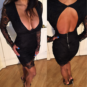 412ac207980b Connie's Long Sleeve Black Lace Mini Dress w/ Deep V Plunge & Open ...
