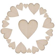 100X Unfinished Wooden Love Heart Shape Weddings Plaques Art Craft Embellishment