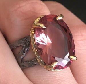 925-Sterling-Silver-Handmade-Gemstone-Turkish-Alexandrite-Ladies-Ring-Size-Adj