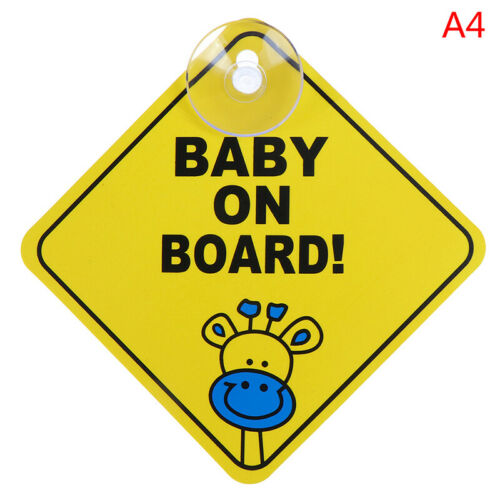 Baby On Board SAFETY Car Window Suction Cup Yellow REFLECTIVE Warning Sign 12 ga