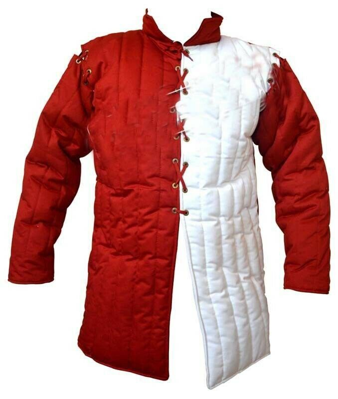 Medieval Reenactment Thick Red white Historical Padded Gambeson Aketon Armor