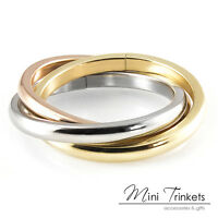 Russian Trinity Triple Wedding 3 Band Ring - 18k Gold Plated With Gift Pouch