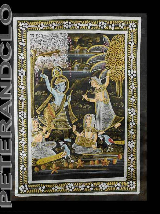 Tenture Murale Peinture sur Soie Scène de vie Art Moghole Inde 31x22cm C2 1199
